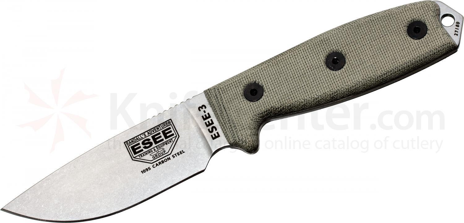 ESEE Knives ESEE-3P-UC Plain Edge Uncoated Blade, Coyote Brown Sheath, Boot Clip