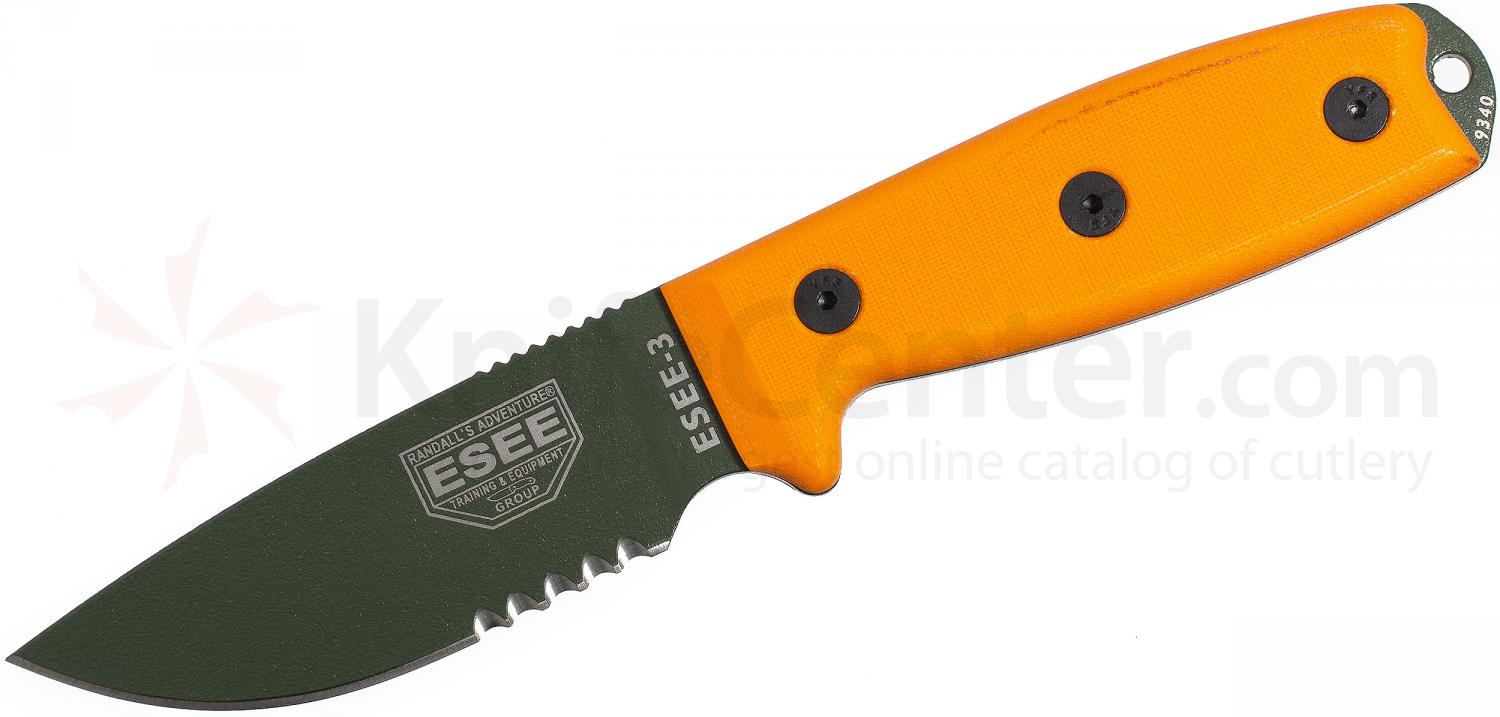 ESEE Knives ESEE-3SM-MB-OD Combo Edge, Orange G10, Rounded Pommel, Black Sheath, MOLLE Back, Boot Clip, Paracord