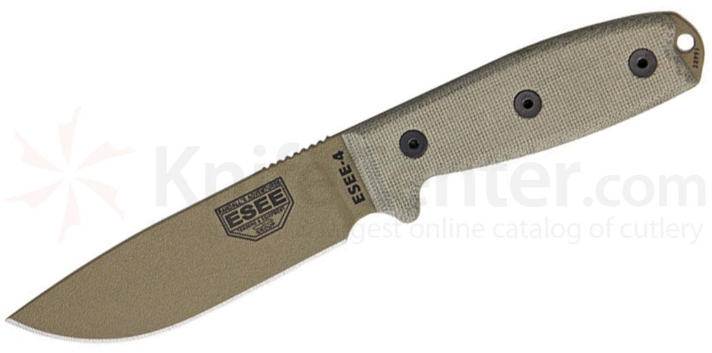 ESEE Knives ESEE-4P-MB-DE Dark Earth Plain Edge, Micarta Handles, Black Sheath, MOLLE Back, Clip Plate, Paracord