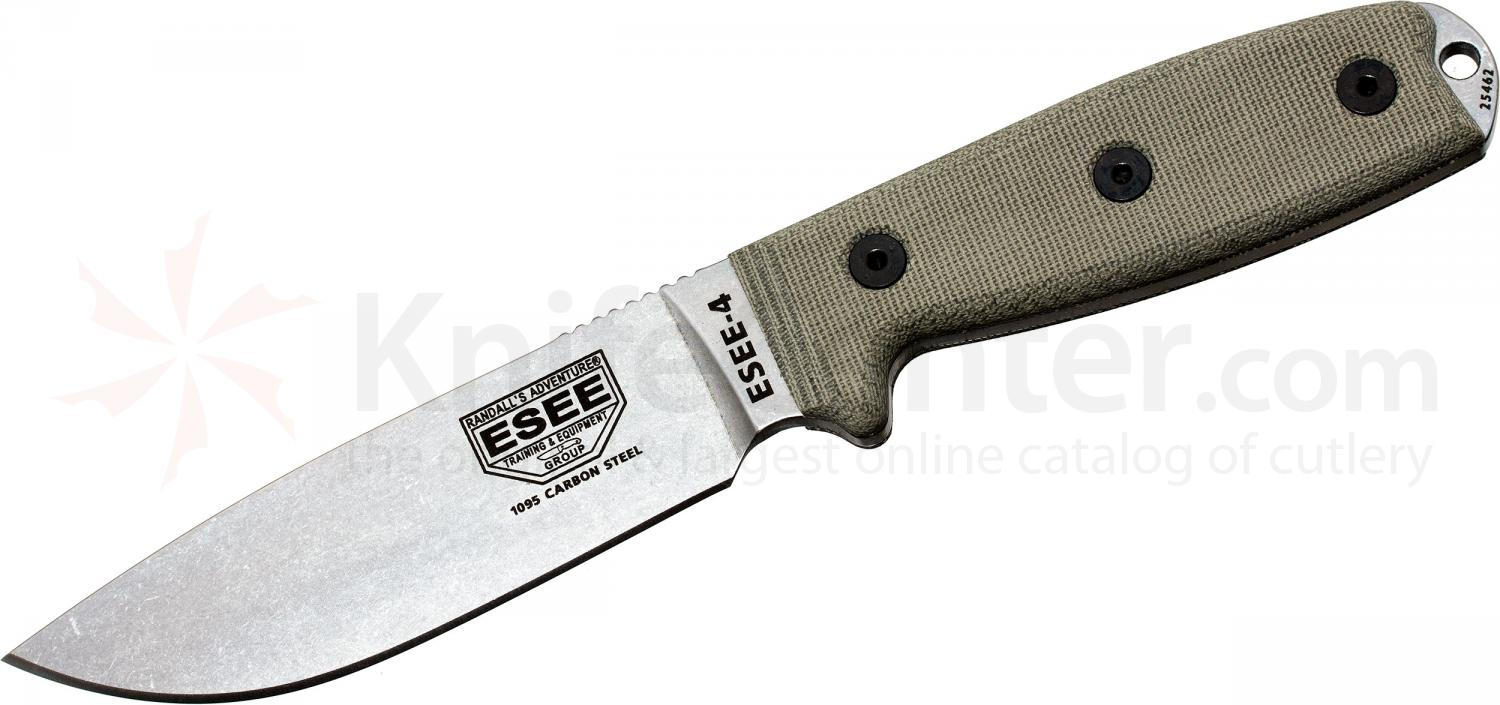 ESEE Knives ESEE-4P-UC Uncoated Plain Edge, Coyote Brown Sheath, Clip Plate, Paracord