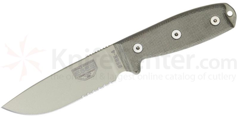 ESEE Knives ESEE-4S-MB-DT Combo Edge, OD Sheath, Clip Plate, MOLLE Back, Paracord