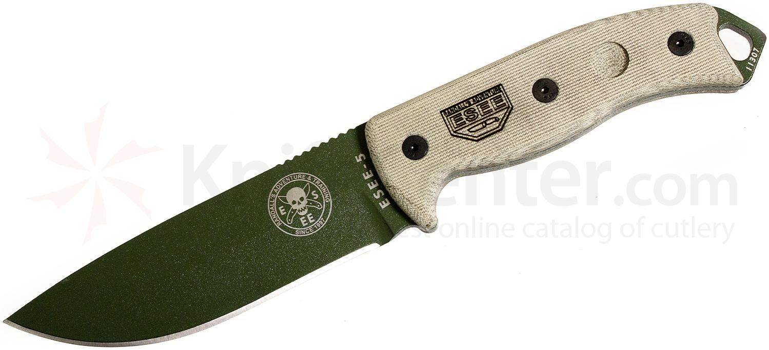 ESEE Knives ESEE-5P-OD Plain Edge, Black Sheath, Clip Plate