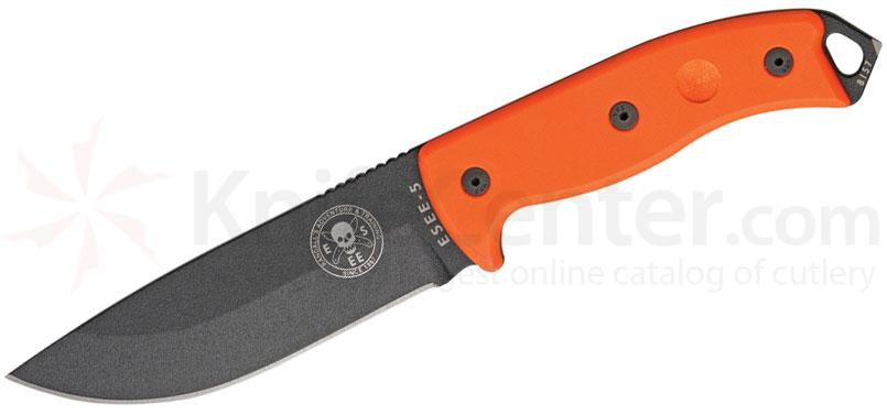 ESEE Knives ESEE-5 Fixed 5.25 inch Black Blade, Orange G10 Handles, Black Sheath