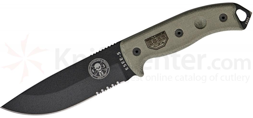 ESEE Knives ESEE-5S Combo Edge, Black Kydex Sheath, Clip Plate