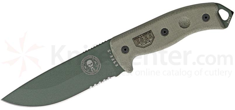 ESEE Knives ESEE-5S-OD Combo Edge, Black Sheath, Clip Plate