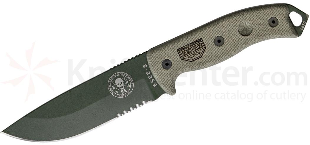 ESEE Knives ESEE-5S-OD OD Green Combo Edge, Black Kydex Sheath, Clip Plate