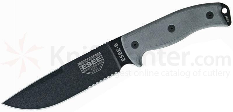 ESEE Knives ESEE-6S-CP-OD Sharpened Clip Point Combo Edge, OD Green Sheath, Clip Plate