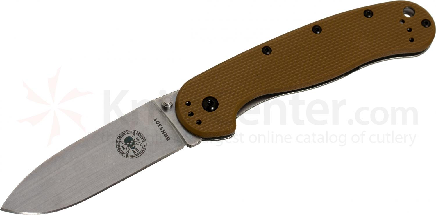 Avispa Folding Knife 3.5 inch Stonewashed AUS-8 Blade, Coyote FRN and Stainless Steel Handles, Designed by ESEE