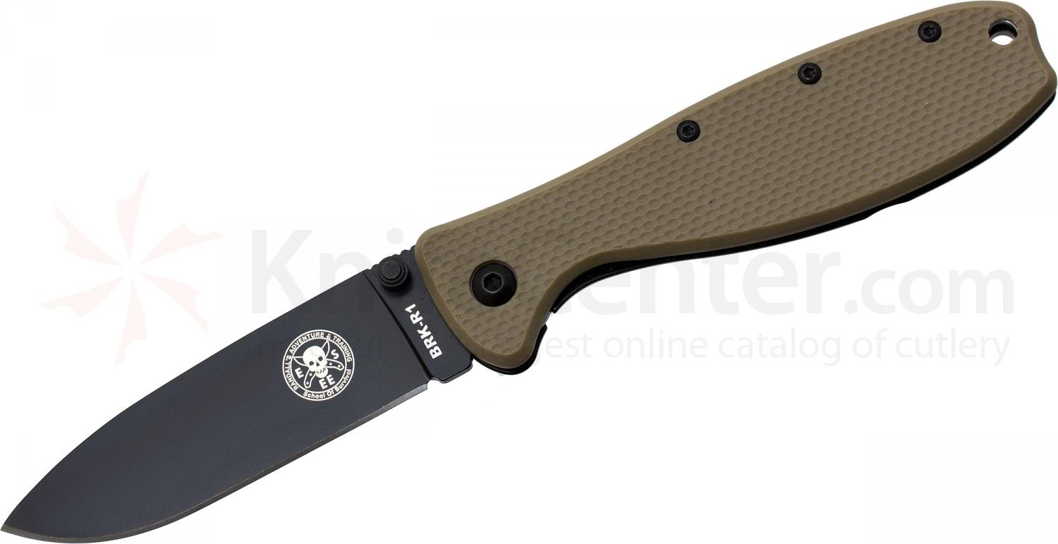 Zancudo Folding Knife 3 inch Black Blade, Desert Tan FRN and Stainless Steel Handles, Designed by ESEE