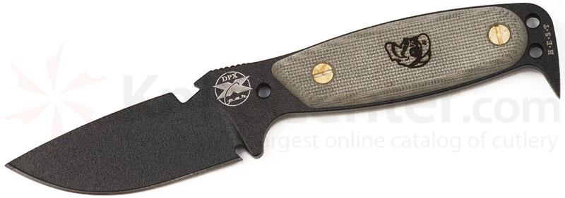 DPx Gear HEST Original by OKC Fixed 3-1/8 inch Plain Black Blade, Micarta Handles