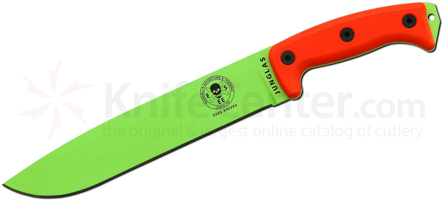 ESEE Knives Junglas Machete 10.38 inch Venom Green Blade, Orange G10 Handles, Black Sheath