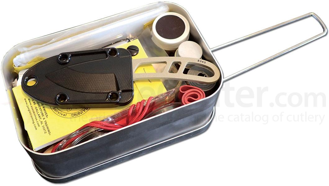 ESEE Knives LARGE-TIN-KIT-OD Mess Tin Survival Kit with Candiru Knife, OD Green Pouch and Survival Blanket