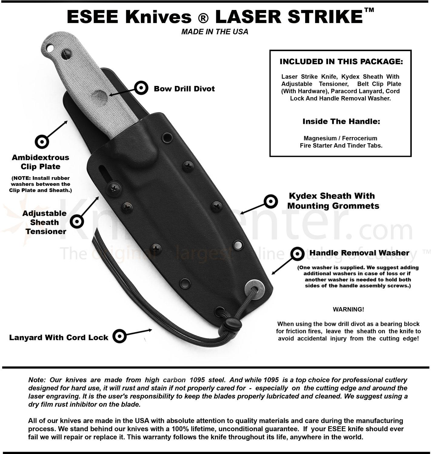 "ESEE Knives Laser Strike Survival Knife Fixed 5"" Blade"