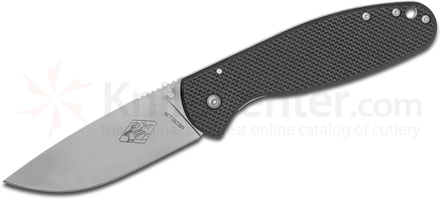 ESEE Knives Expat MEDELLIN Folding Knife 3.5 inch Satin Plain Blade, Black FRN and Stainless Steel Handles