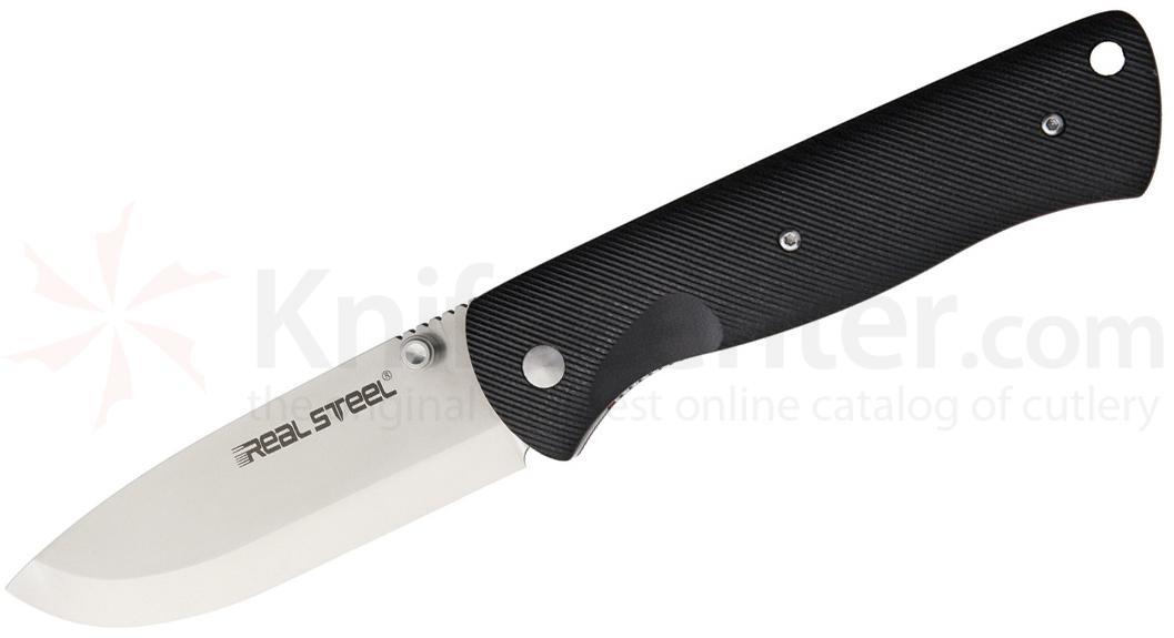 Real Steel Knives Bushcraft Folding Knife 3.54 inch D2 Satin Plain Blade, Black G10 Handles, Nylon Sheath
