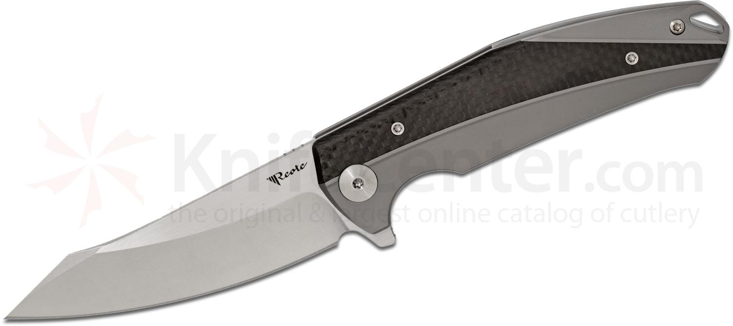 Reate Knives K-1 Flipper 3.875 inch Damasteel RWL-34 Stonewashed Two-Tone Blade, Titanium Handles with Carbon Fiber Inlays