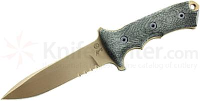 Chris Reeve Green Beret Combat Knife Fixed 5.5 inch S35VN Flat Dark Earth Combo Blade, Micarta Handles, Coyote Brown Nylon Sheath