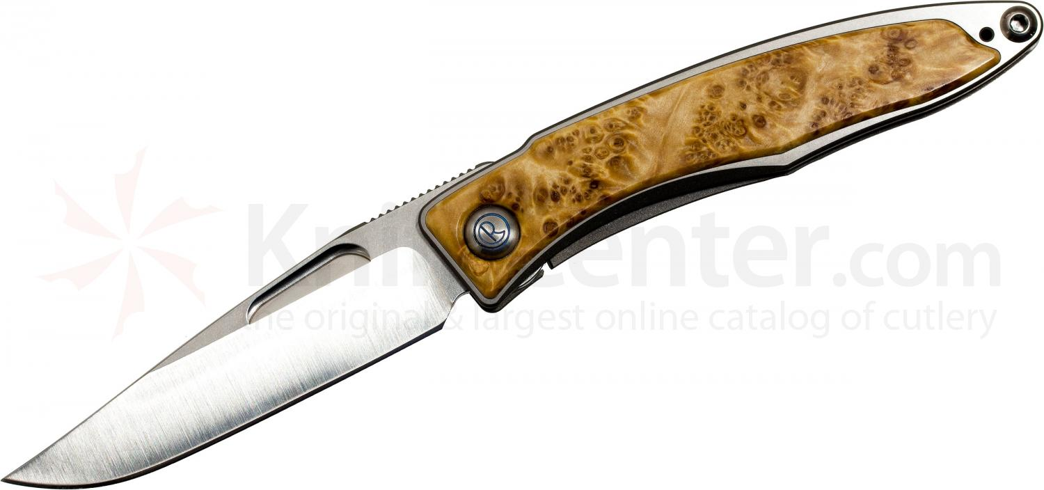 Chris Reeve Mnandi Folding Knife 2.75 inch S35VN Blade, Titanium Handles with Box Elder Burl Inlays