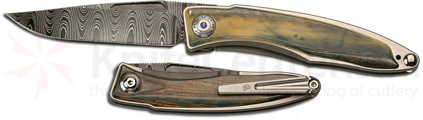 Chris Reeve Mnandi Frame Lock Damascus Blade Mammoth Ivory Sapphire Handle