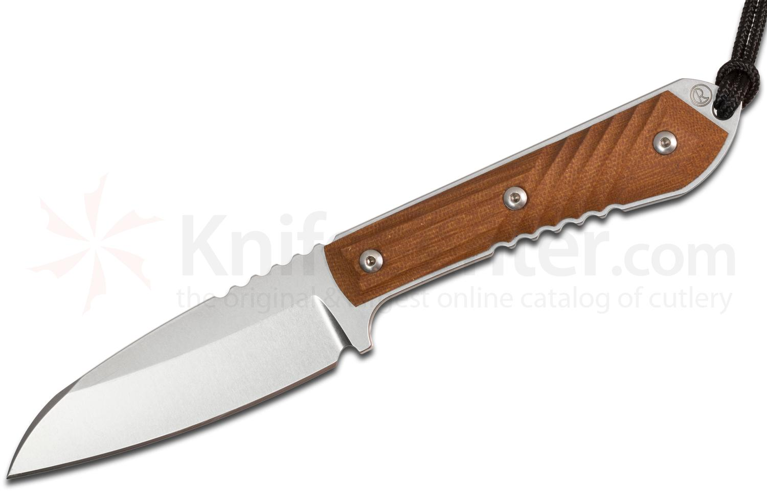 Chris Reeve Nyala Insingo Fixed 3.75 inch S35VN Stonewashed Blade, Brown Canvas Micarta Handles, Leather Sheath