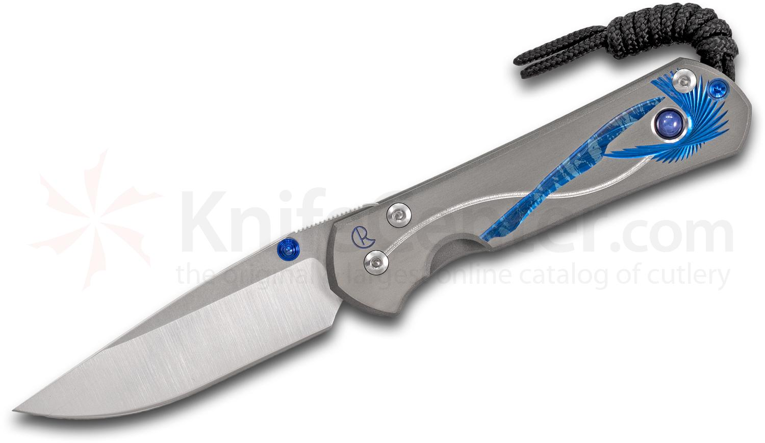 Chris Reeve Small Sebenza 21 Unique Graphic Folding Knife 2.94 inch S35VN Blade, CGG Titanium Handles with Blue Star Sapphire Cabochon Inlay