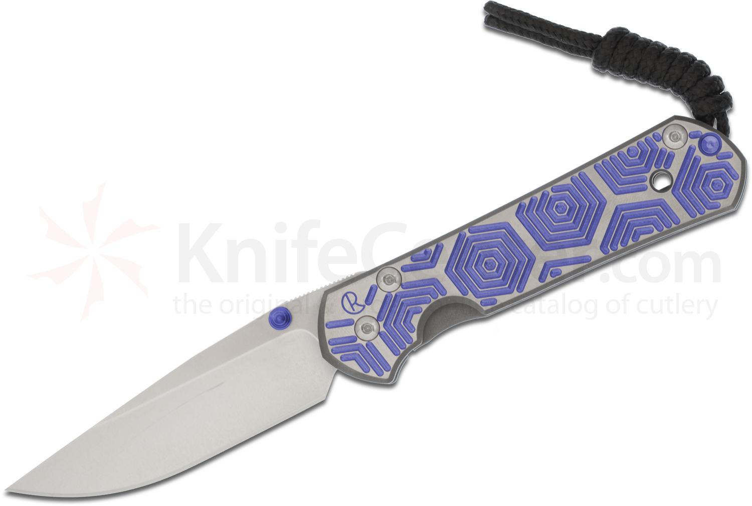 Chris Reeve Small Sebenza 21 Blue Hex CGG Folding Knife 2.94 inch S35VN Stonewashed Blade, Milled Titanium Handles