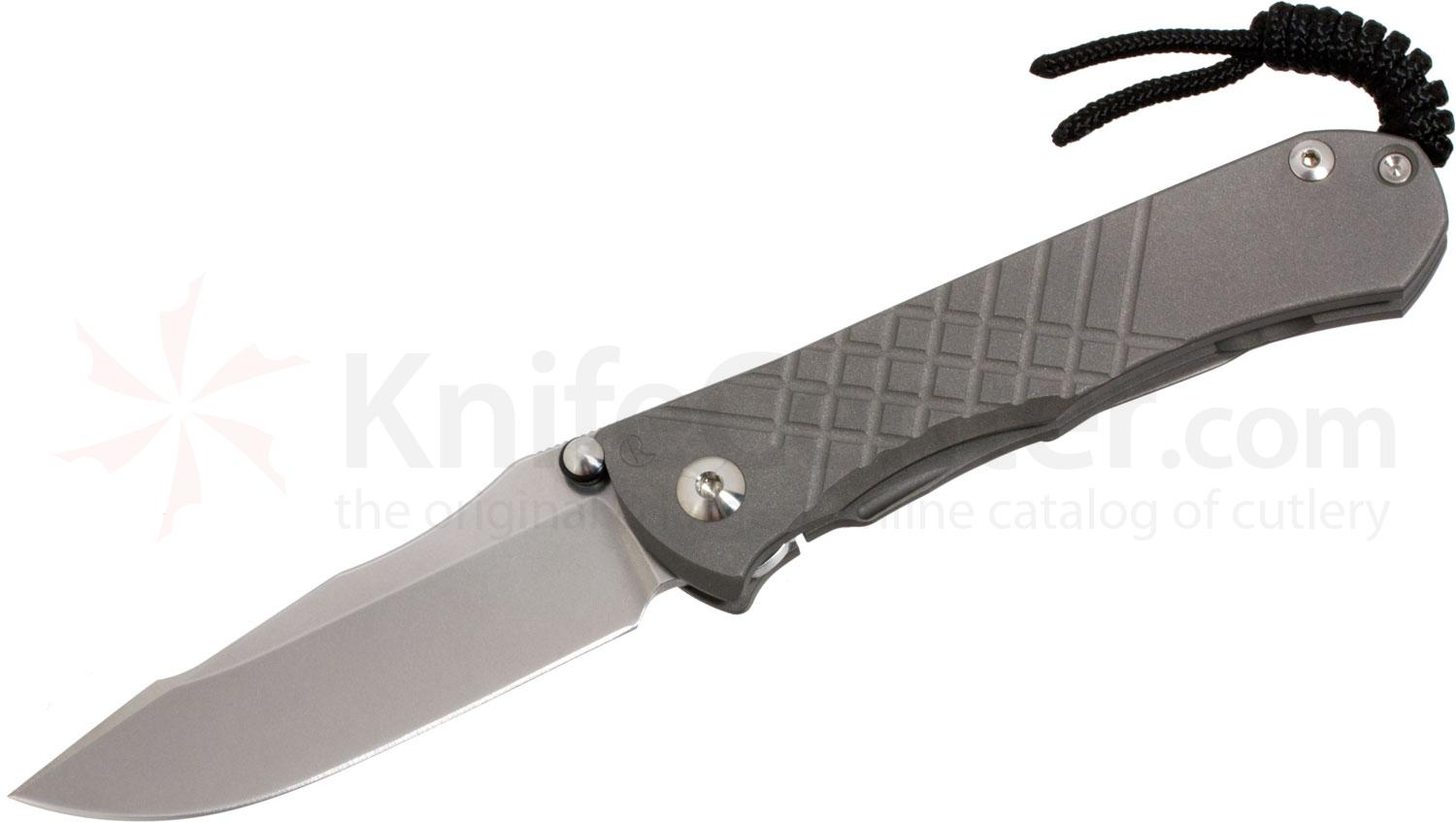 Chris Reeve Umnumzaan Folding Knife 3.675 inch S35VN Stonewashed Blade, Milled Titanium Handles