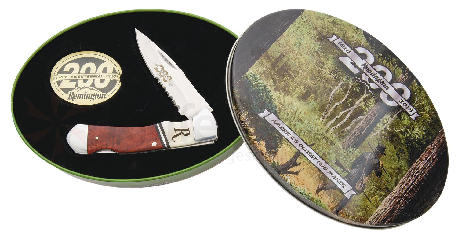 Remington 200th Anniversary Lockback Folding Knife 3 inch Combo Blade, Wood Handles, Gift Tin