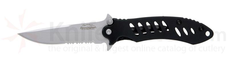 Remington Sportsman F.A.S.T. Medium Folder 3-1/8 inch Serrated Stainless Blade with Black Handle