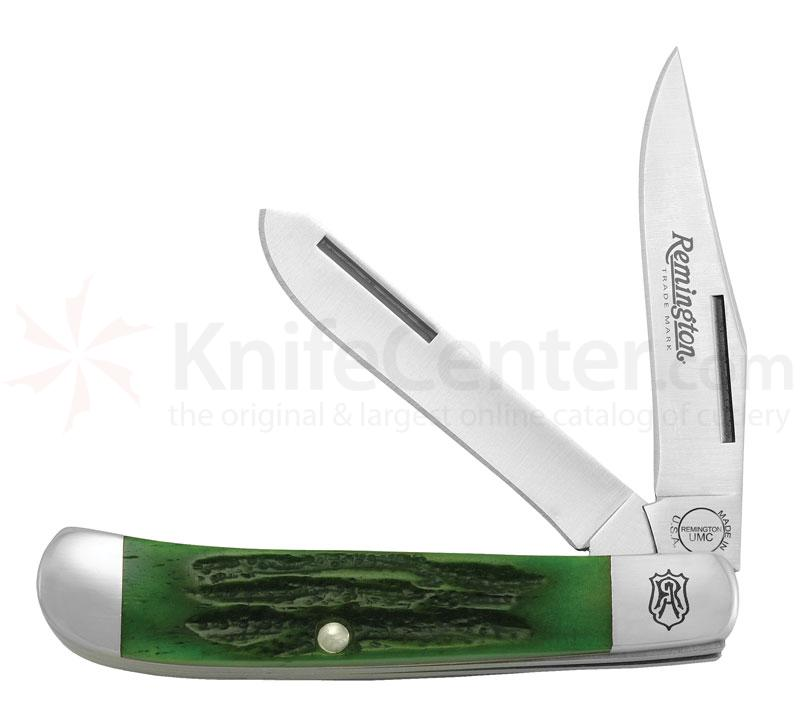 Remington Heritage Green Jigged Bone Tiny Trapper Pocket Knife 3-3/8 inch Clip and 3-3/8 inch Spey Blades (R-133 Model)