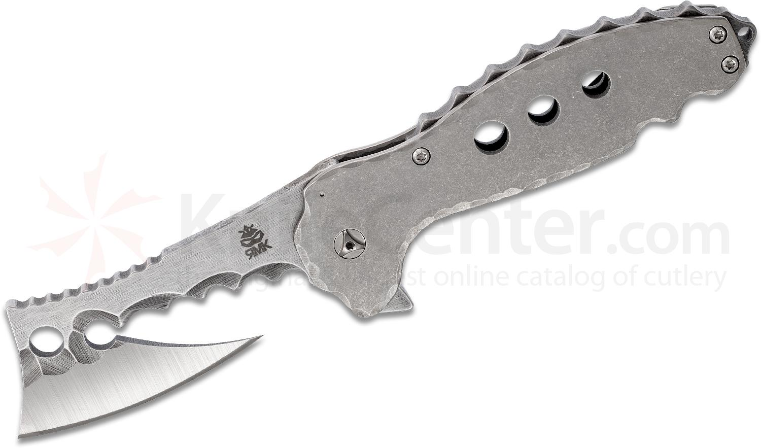 RichMade Knives Custom Large Ratchet Flipper Knife 4.125 inch D2 Satin Blade, Stonewashed Milled Titanium Handles