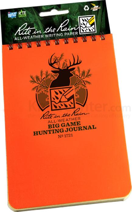 Rite in the Rain Polydura Big Game Hunting Journal, 4 inch x 6 inch, Orange