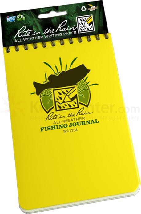 Rite in the Rain Polydura Fishing Journal, 4 inch x 6 inch, Yellow
