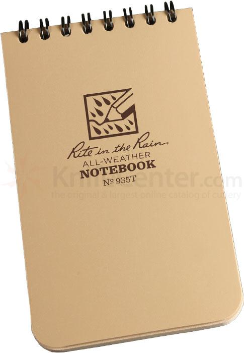Rite in the Rain Universal Polydura Tactical Pocket Notebook, 3 inch x 5 inch, Tan