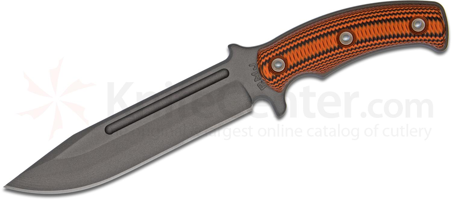 RMJ Tactical Combat Africa Fixed 7 inch 80CRV2 Carbon Blade, Black/Orange G10 Handles, Kydex Sheath with Low Ride Straps - KnifeCenter Exclusive