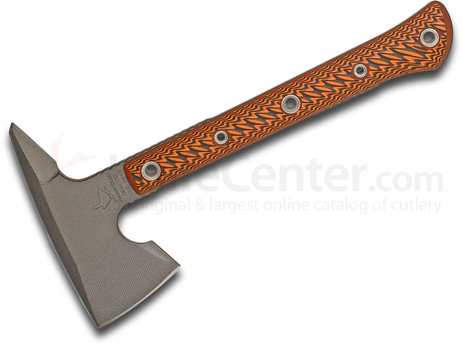 RMJ Tactical Jenny Wren Tomahawk 11.5 inch Overall, Black/Orange G10 Handle, Kydex Sheath with MOC Straps - KnifeCenter Exclusive