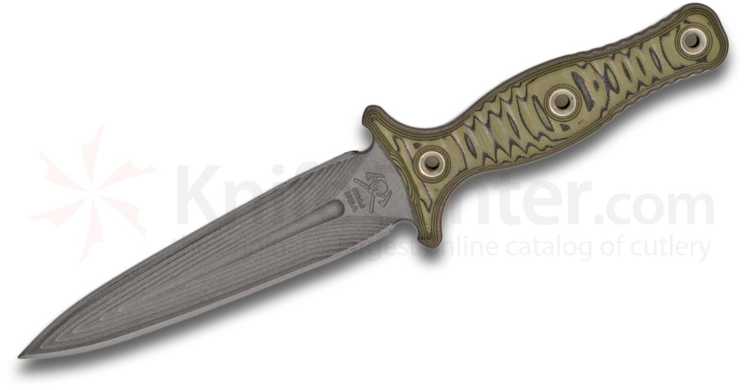 RMJ Tactical Raider Dagger Fixed 5.375 inch Tungsten CPM-3V Double Edge Blade, Dirty Olive G10 Handles, Kydex Sheath