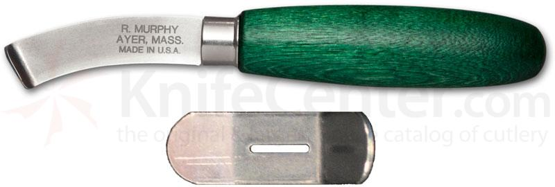 R. Murphy Right Handed Curved Lip Shoe Knife 2 1/4 inch Carbon Blade, Green Handle, Bent Guard