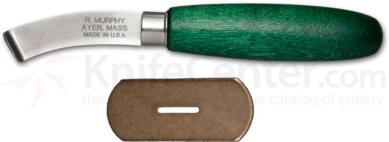 R. Murphy Right Handed Curved Lip Shoe Knife 2 1/4 inch Carbon Blade, Green Handle, Straight Guard