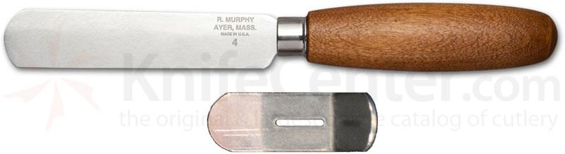 R. Murphy Round Point Shoe Knife 4 inch Carbon Blade, Brown Handle, Bent Guard