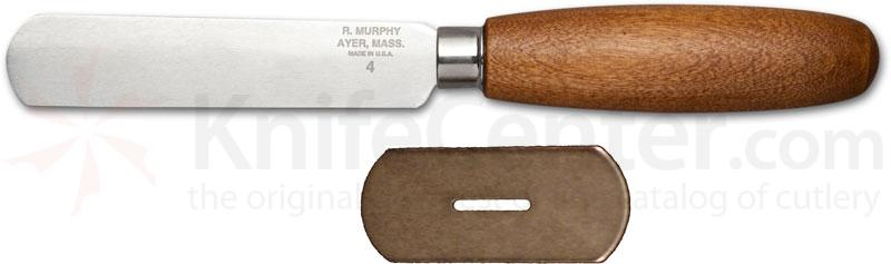 R. Murphy Round Point Shoe Knife 4 inch Carbon Blade, Brown Handle, Straight Guard