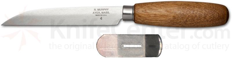R. Murphy Sharp Point Shoe Knife 4-3/8 inch Carbon Blade, Brown Handle, Bent Guard