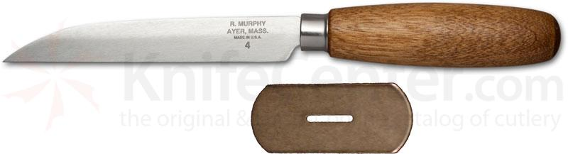 R. Murphy Sharp Point Shoe Knife 4-3/8 inch Carbon Blade, Brown Handle, Straight Guard