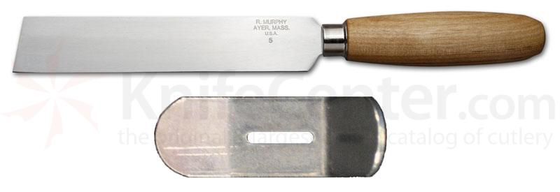 R. Murphy Square Point Rubber Knife 5 inch X 1 inch Blade, Natural Wood Handle, Bent Guard