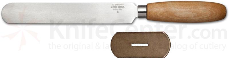 R. Murphy Round Point Skiving Knife 6 inch Carbon Blade, Natural Wood Handle, Straight Guard