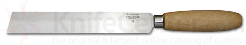 R. Murphy Square Point Rubber Knife 6 inch X 1 inch Blade, Natural Wood Handle