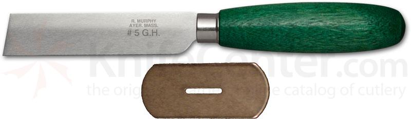 R. Murphy Square Point Shoe Knife 3-3/4 inch Carbon Blade, Straight Guard, Green Handle