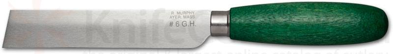 R. Murphy Square Point Shoe Knife 4-1/2 inch Carbon Blade, Green Handle