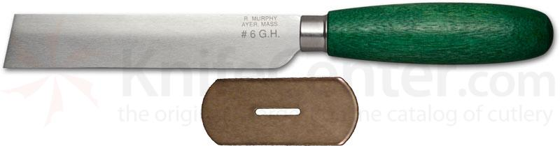 R. Murphy Square Point Shoe Knife 4-1/2 inch Carbon Blade, Straight Guard, Green Handle