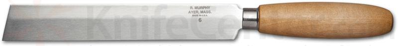 R. Murphy Square Point Skiving Knife 6 inch Carbon Blade, Natural Wood Handle